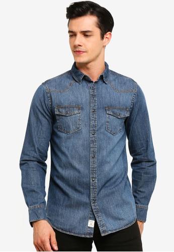 OVS 藍色 丹寧 襯衫 With 口袋 1DE30AA4A929A4GS_1