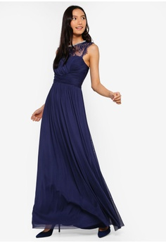 7f476c28 48% OFF Lipsy Navy Elsa Mesh Lace Insert Maxi Dress HK$ 1,179.00 NOW HK$  616.90 Sizes 6 10 14