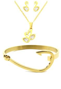 Golden Necklace and Gold Hook Bangle Set