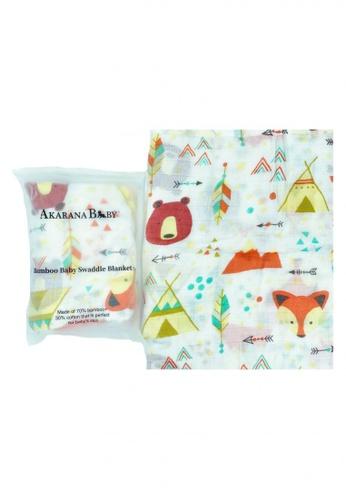 Akarana Baby multi Newborn Baby Bamboo Muslin Swaddle Soft Blanket Foxy Bear EC196KCC856E9AGS_1