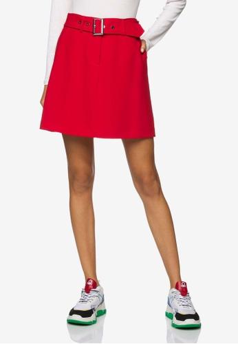 United Colors of Benetton 紅色 軟料修身A字裙 31ED8AA3A90C4CGS_1