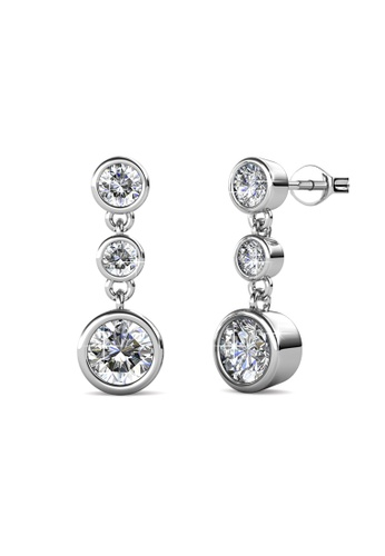 Her Jewellery silver Swarovski® Crystals - Tri Dangling Earrings (18K White Gold Plated) Her Jewellery HE581AC0RA1CMY_1