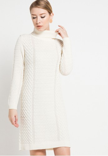 COME white Joana Cable Knit Dress CO779AA86HZHID_1