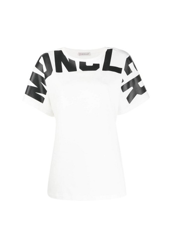 Moncler white Moncler Contrast Lettering T-Shirt in White F5364AAA3BA376GS_1