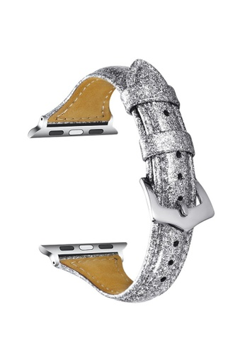 Kings Collection silver Silver Genuine Leather Apple Watch Band 38MM / 40MM (KCWATCH1050) 765C7ACDAFAB20GS_1