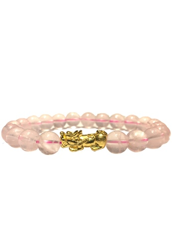 LITZ pink and gold [SPECIAL] LITZ 999(24K) Gold PiXiu (0.70g+/-) with free Pink Crystal Bracelet 0C0FEAC250671DGS_1