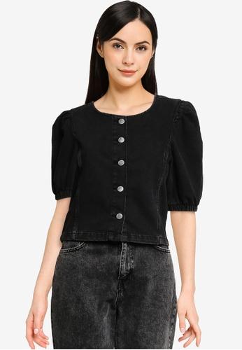 JACQUELINE DE YONG black 2/4 Puff Sleeves Button Top 32812AACE8C0C3GS_1