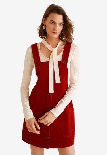Mango red Corduroy Pinafore Dress 51D42AA575CF5EGS_1