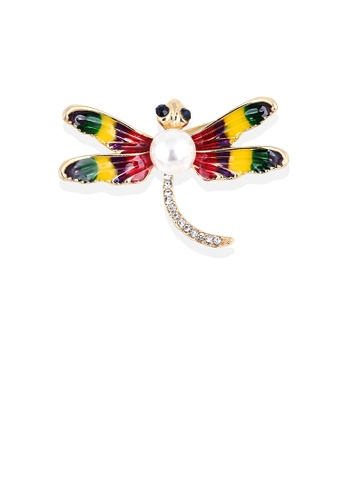 Glamorousky white Simple and Lovely Plated Gold Enamel Color Dragonfly Imitation Pearl Brooch with Cubic Zirconia D54E2ACF5B3B4BGS_1
