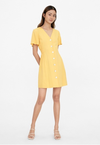 Pomelo yellow Ruched Waist Button Up Dress - Mustard C1A5CAACD83AC3GS_1