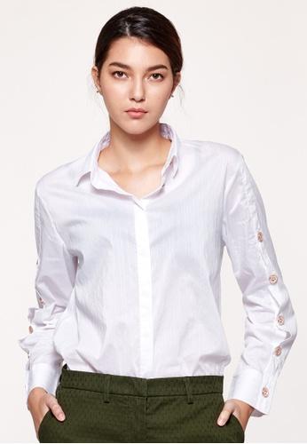 Sisley white Oversized Fit Striped Shirt 9495FAAEE69B94GS_1