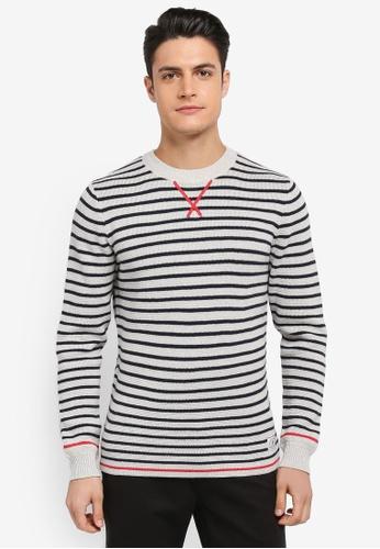 Jack Wills grey Thurston Stripe Jumper 67359AA502584BGS_1