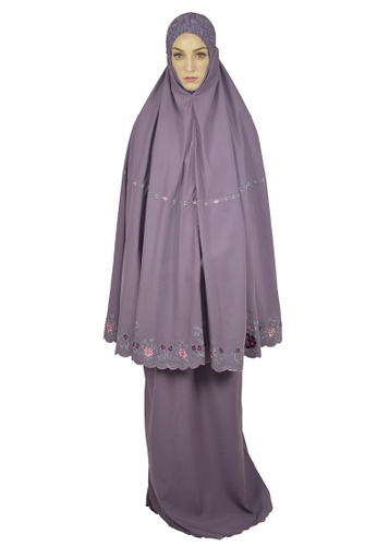 Cantik Butterfly purple Flora Embroidered Telekung Set (Purple) 7E824AA5F47143GS_1