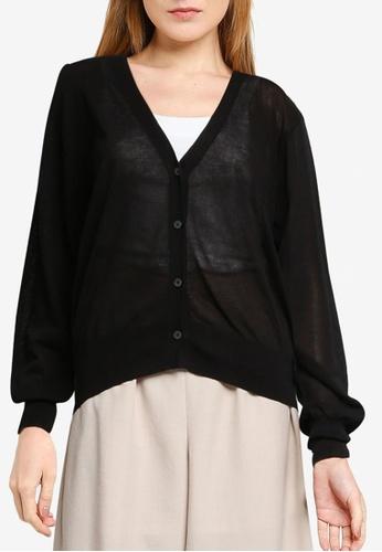 LOWRYS FARM black Sheer Buttoned Cardigan 15B92AA9027A43GS_1