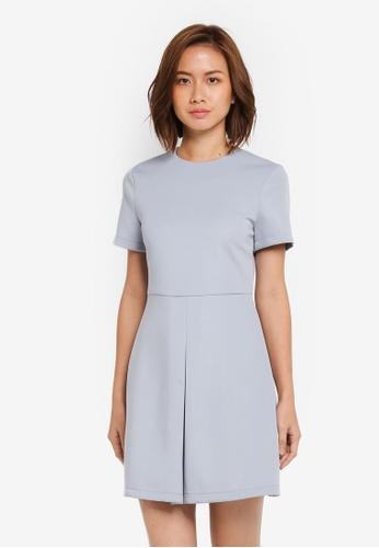 ZALORA blue Pleat Detail Dress 870C6AA35FC0DCGS_1