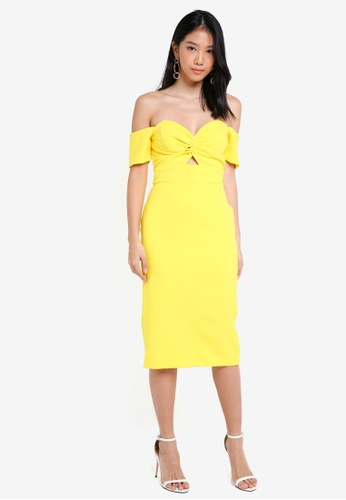 River Island yellow Yellow Knot Front Bardot Bodycon Dress A76C1AAF83ACACGS_1