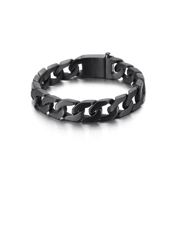 Glamorousky silver Simple Personality Plated Black Hollow Geometric 316L Stainless Steel 13mm Bracelet 69B31ACC68FB5AGS_1