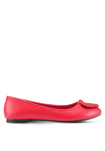 Mimosa red Faux Leather Flats CCA88SH5EB7462GS_1