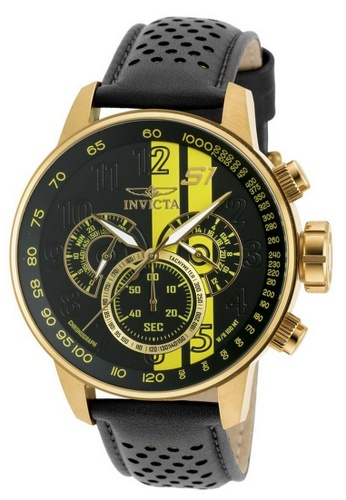 INVICTA black and gold Invicta S1 Rally Men 48mm Case Black, Brown, Yellow Leather Strap Black, Yellow Dial Quartz Watch 19905 w/ Yellow Impact Case IN968AC0FVT2SG_1