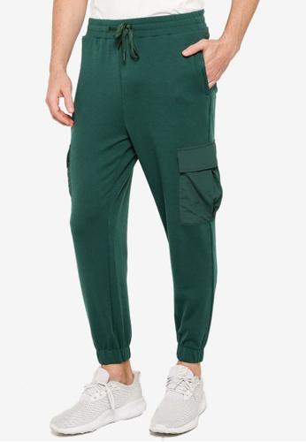 ZALORA ACTIVE green Mixed Material Jogger Pants EA875AA841895AGS_1