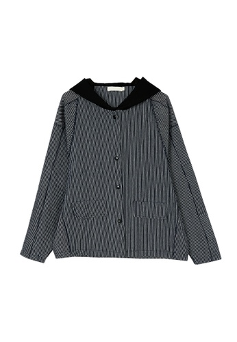 Its Me black and navy Loose Striped Warm Cotton Hooded Jacket 84B3EAA37B184DGS_1