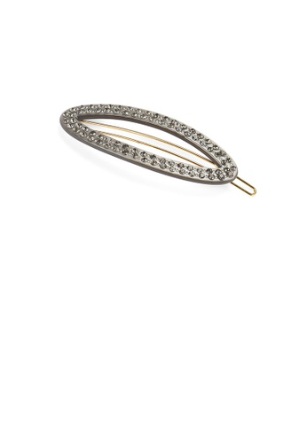 Glamorousky grey Simple and Fashion Grey Hollow Geometric Hair Clip with Cubic Zirconia E9B48ACE3EB1F4GS_1