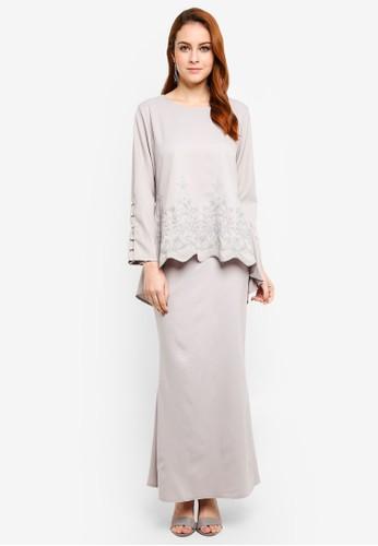 BYN grey Baju Kurung Modern 17915AA0BBAE07GS_1