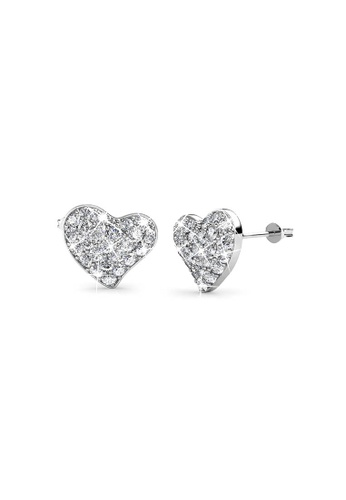 Her Jewellery silver Swarovski® Crystals - Happy Love Earrings (18K White Gold Plated) Her Jewellery HE581AC0RDPEMY_1