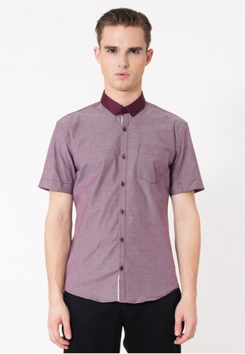 The Executive purple Solid Short Sleeve Shirt TH044AA40RGPMY_1
