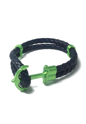 Splice Cufflinks blue Grapple Series Dark Blue PU Leather Green Anchor Bracelet SP744AC40XFZSG_1