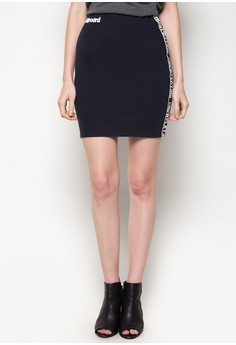 Billboard Bodycon Skirt With Cut And Sew Contrast Color Panels And Text Print