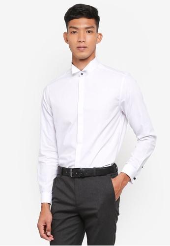 Burton Menswear London 白色 修身長袖襯衫 20D99AA8A48F35GS_1