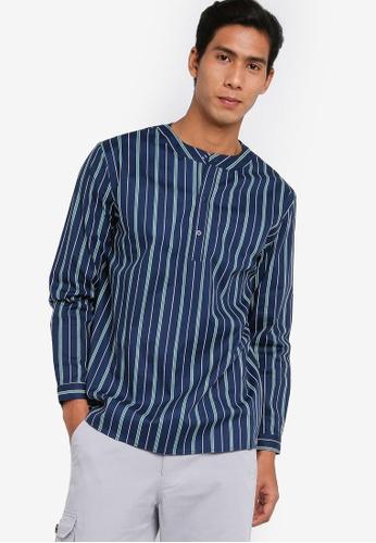 ZALORA BASICS multi Half Placket Long Sleeve Print Shirt EEEC6AAD913EEEGS_1