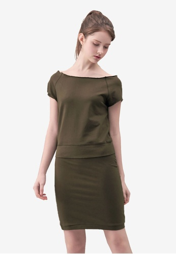 Kodz brown Wide-neck Knee Length Dress 86C4CAA1E5D18CGS_1