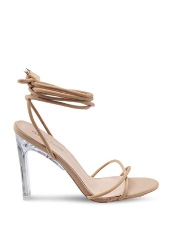 Public Desire 米褐色 Amplify Lace Up Perspex Heel 51017SH4D7BB4CGS_1
