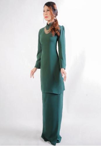 SARIMA green Kurung Modern Modest Fashion Emerald Green AB0A6AAB1C77EBGS_1