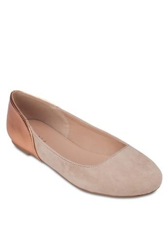 zalora 心得色塊仿麂皮平底鞋, 女鞋, 芭蕾平底鞋