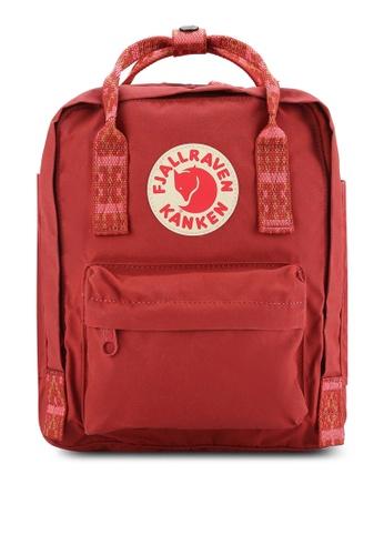 Fjallraven Kanken red Deep Red - Folk Pattern Kanken Mini Backpack FJ382AC0RH1LMY_1
