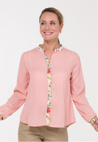 Bove by Spring Maternity pink Woven Long Sleeve Blouse Mandarin Collar Top (IT7302) SP010AA30AIFSG_1