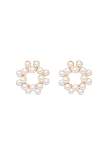Atrireal beige and gold ATRIREAL - Oona Round Stud Pearl Earrings 2D32DAC27FE54BGS_1