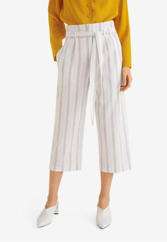 Mango white and multi Belt Cotton-Blend Trousers BF36DAA6DD7B18GS_1