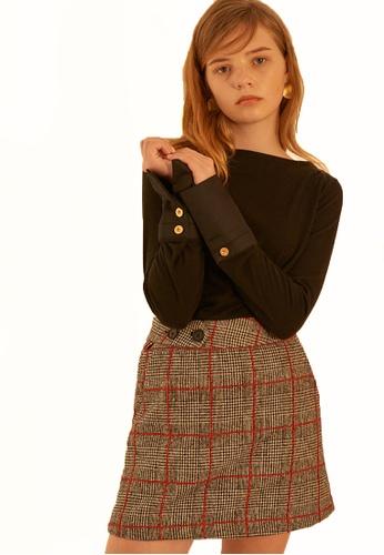 Salon de Yohn red Wool Glen Checkered Skirt SA458AA0GX4NSG_1