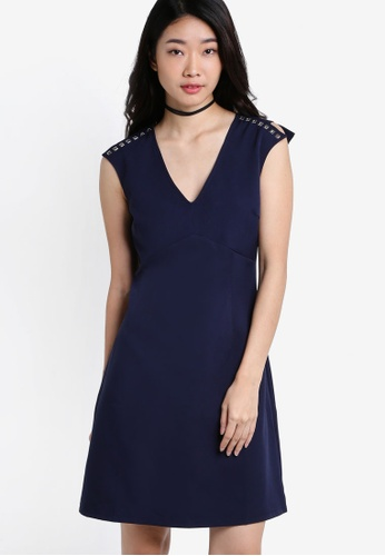 ZALORA navy Collection Fit & Flare Dress With Studs 93E86AA4958073GS_1