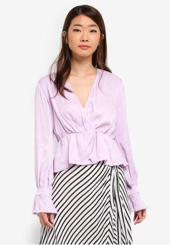 Bardot purple Leonie Wrap Blouse BA332AA0ST8UMY_1