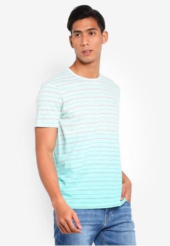 ESPRIT 綠色 條紋刺繡T恤 3BF4DAA8CE86E5GS_1