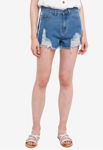 Something Borrowed blue Destroyed Frayed Denim Shorts 3F579AA9B33E83GS_1