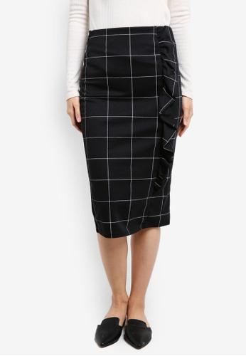 Dorothy Perkins black Checkered Frill Pencil Skirt DO816AA0RP4FMY_1