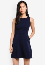 ZALORA navy Fit & Flare Knitted Crepe Dress 55D38AA3216BB6GS_1