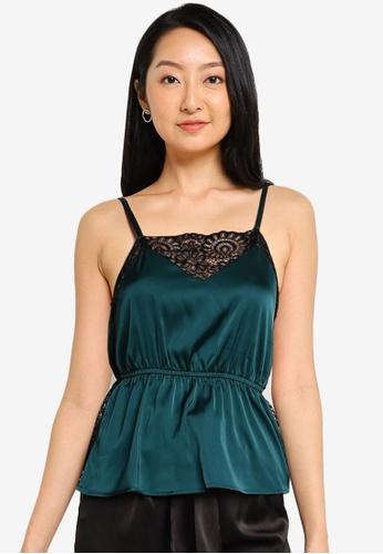 ZALORA BASICS 黑色 and 綠色 Lounge 蕾絲拼接綢緞細肩帶上衣 313B2AACF221AFGS_1