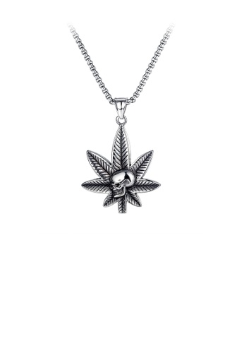 Glamorousky silver Fashion Personality Maple Leaf Skull 316L Stainless Steel Pendant with Necklace 0D532AC9D8D896GS_1